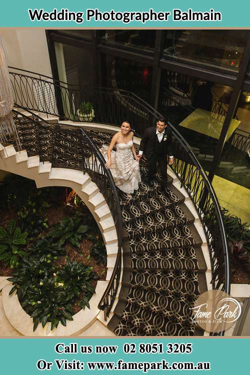 Photo of the Bride and the Groom going down the stair Balmain NSW 2041