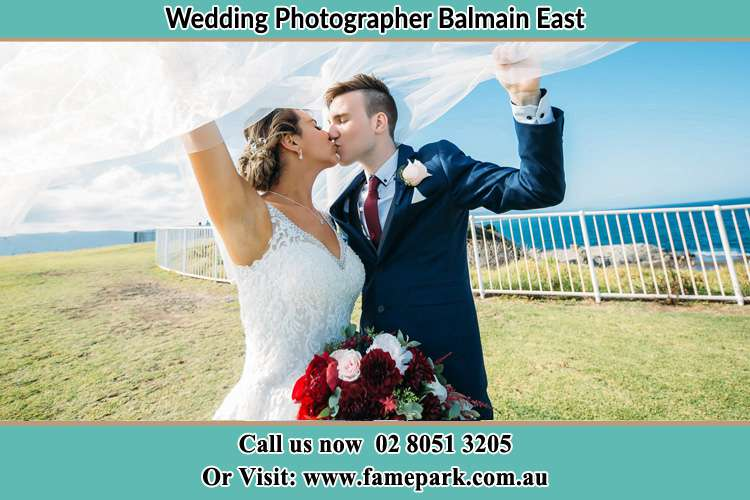 Photo of the Bride and the Groom kissing at the yard Balmain East NSW 2041