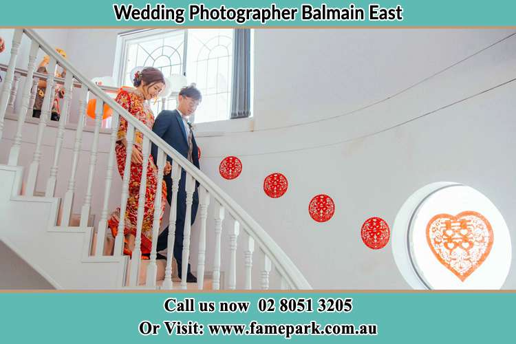 Photo of the Bride and the Groom going down the stair Balmain East NSW 2041