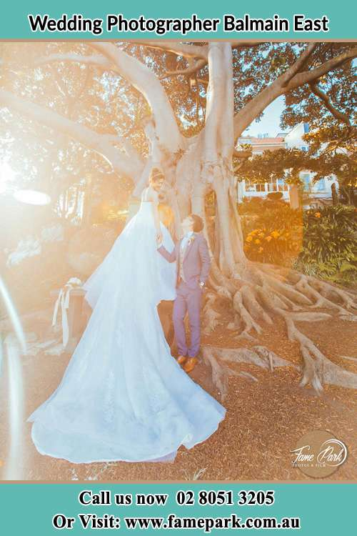 Photo of the Bride and the Groom looking each other besides the tree Balmain East NSW 2041