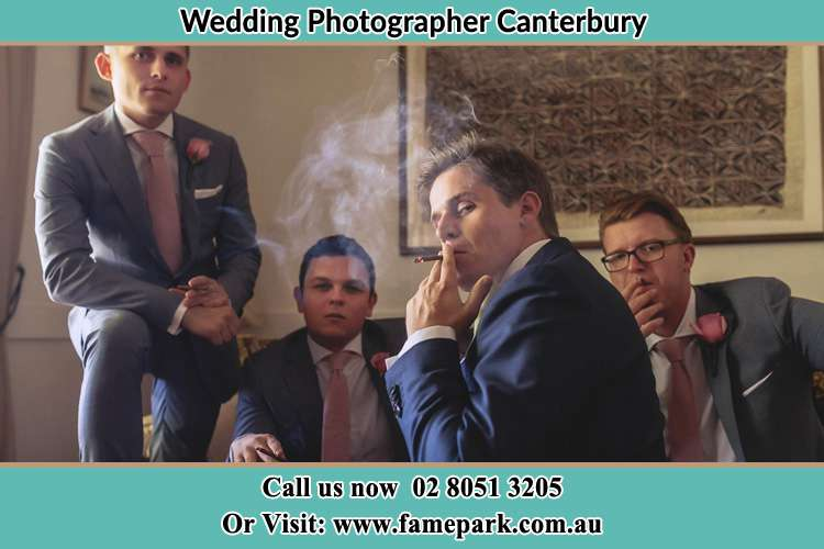 Photo of the Groom and the groomsmen relaxing Canterbury NSW 2193