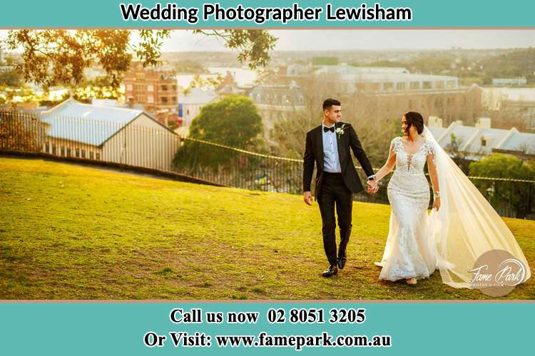 Photo of the Groom and the Bride walking at the yard Lewisham NSW 2049