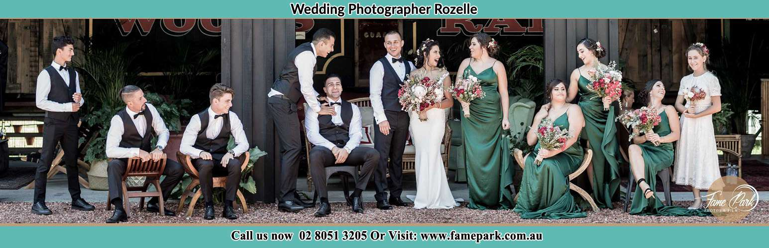The Bride and the Groom with their entourage pose for the camera Rozelle NSW 2039
